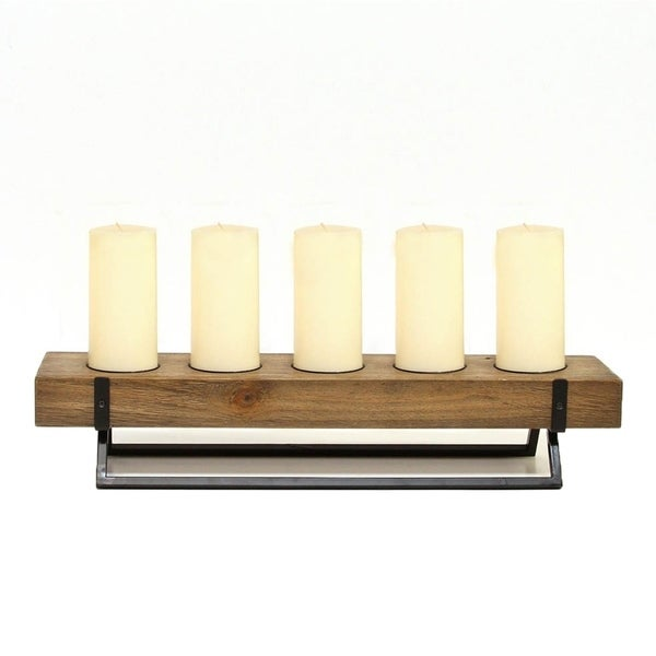 Stratton Home Decor Handcrafted Rustic 5 Candle Holder Centerpiece
