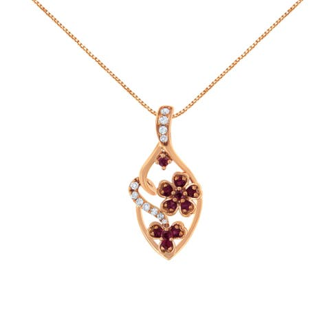 18K Rose Gold Diamond and Created Pink Sapphire Pendant Necklace (H-I, I3)