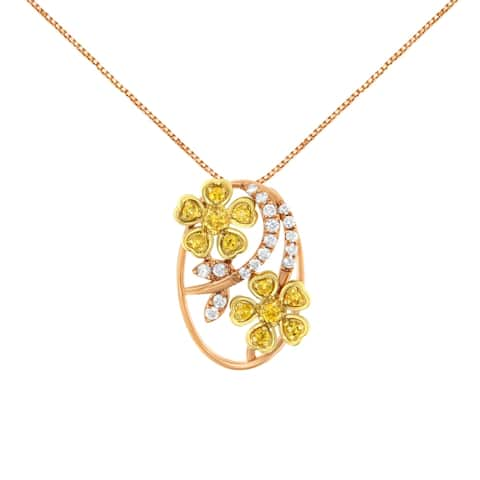 18K Two-Tone Gold Diamond and Created Yellow Sapphire Pendant Necklace (H-I, I3)