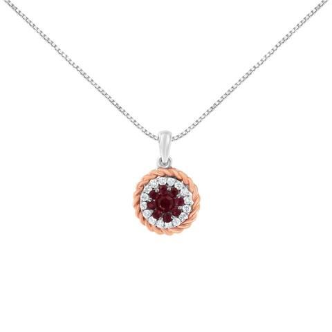 18K Two-Tone Gold Diamond and Created Ruby Pendant Necklace (H-I, I1-I2)