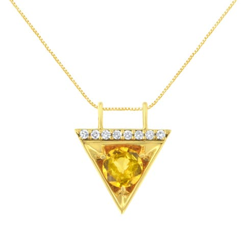 18K Yellow Gold Diamond and Created Yellow Sapphire Pendant Necklace (H-I, I2-I3)