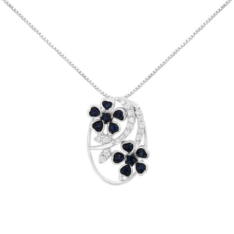 18K White Gold Diamond and Created Blue Sapphire Pendant Necklace (H-I, I3)