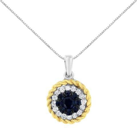 18K Two-Tone Gold Blue Sapphire and Diamond Pendant Necklace (H-I, I2-I3)