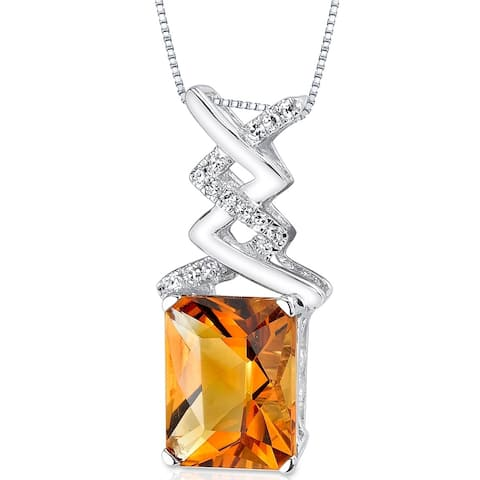 Oravo 14k White Gold Citrine Diamond Pendant Radiant Cut 2.84 carat