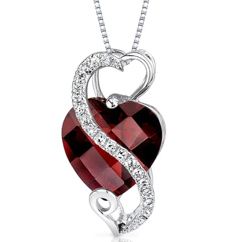 Oravo 14k White Gold Garnet Diamond Pendant Heart Shape 3.25 carat