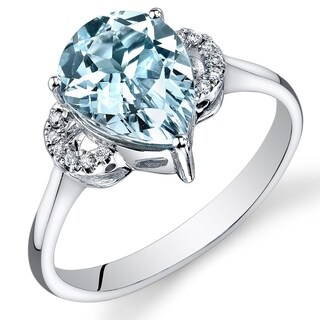 Link to Oravo 14k White Gold Pear Shape Gemstone and Diamond Ring in Size 7 Similar Items in Rings