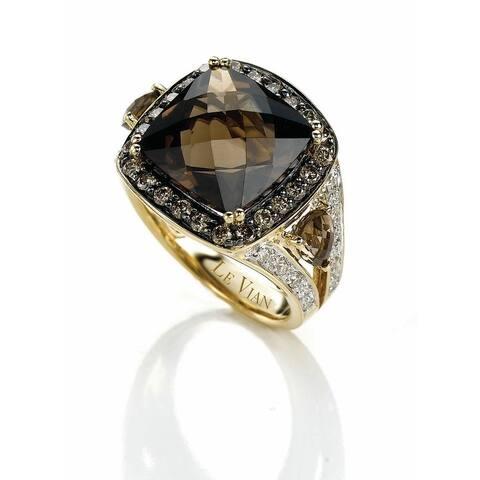 Encore by Le Vian 14K Yellow Gold Ring 7 1/5 ct Chocolate Quartz, 1/2 ct Chocolate Diamonds &1/6 ct Vanilla Diamonds