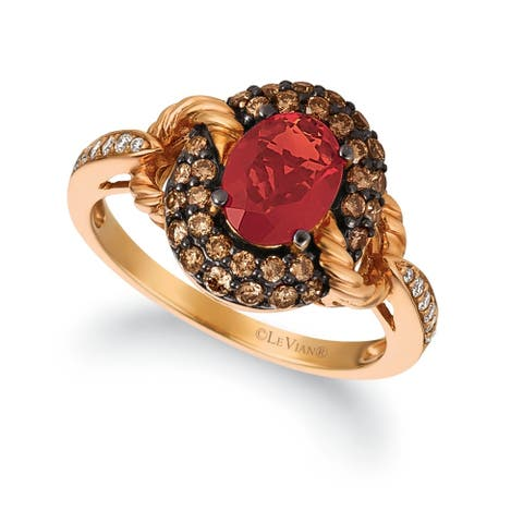 Encore by Le Vian 14K Rose Gold Ring 5/8 ct Neon Tangerine Fire Opal®, 1/2 ct Chocolate Diamonds & 1/15 ct Vanilla Diamonds®