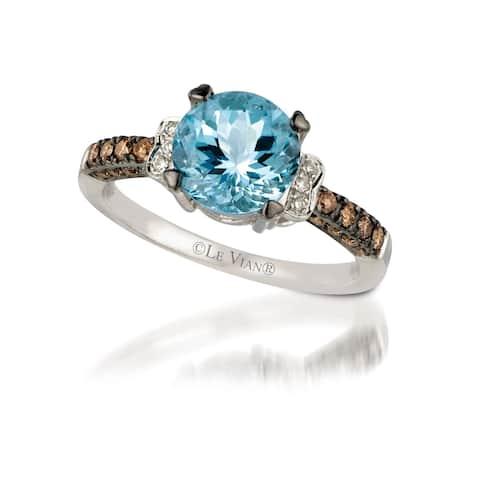Encore by Le Vian 14K White Gold Ring 1 1/5 ct Sea Blue Aquamarine & 1/4 ct Chocolate Diamonds & Vanilla Diamonds