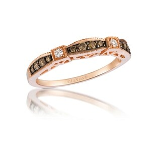 Encore by Le Vian 14K Rose Gold 1/4 ct Chocolate Diamonds & 1/20 ct Vanilla Diamonds Band Ring Size 7