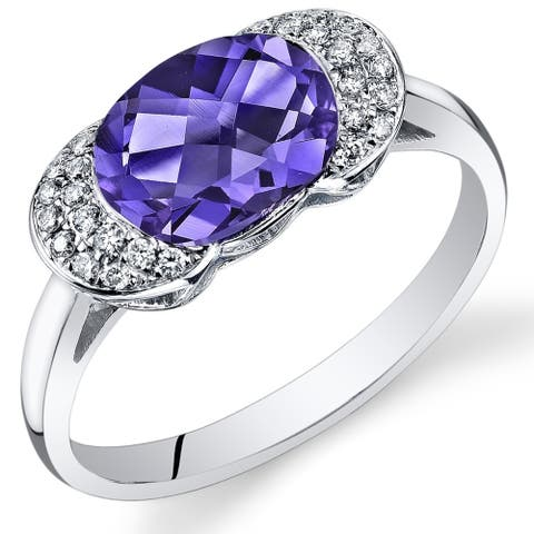 Oravo 14k White Gold Oval Alexandrite and Diamond Ring 2.78 carats Size - 7