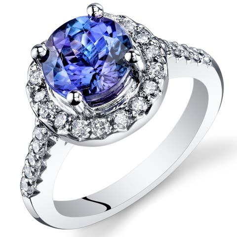 Oravo 14k White Gold Round Cut Tanzanite and Diamond Ring 3.13 carat Size - 6.5