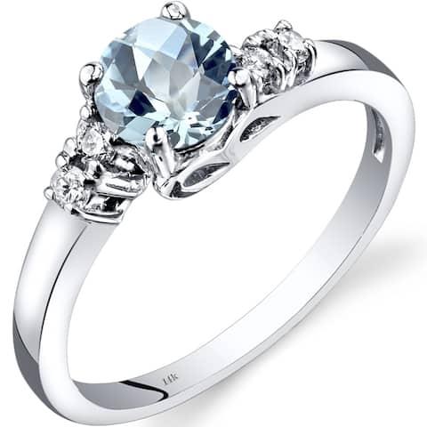 Oravo 14k White Gold Aquamarine and Diamond Solstice Ring Size - 7