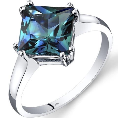 Oravo 14k White Gold Alexandrite Solitaire Ring 2.75 Carat Princess Cut Size - 7