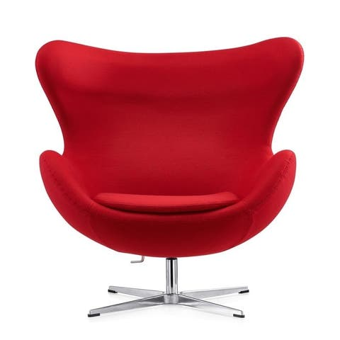 Mid-century Modern Egg Ball Swivel Chair RED,GREY