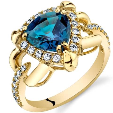 Oravo 14k Yellow Gold Created Alexandrite Homage Ring 2.25 carat