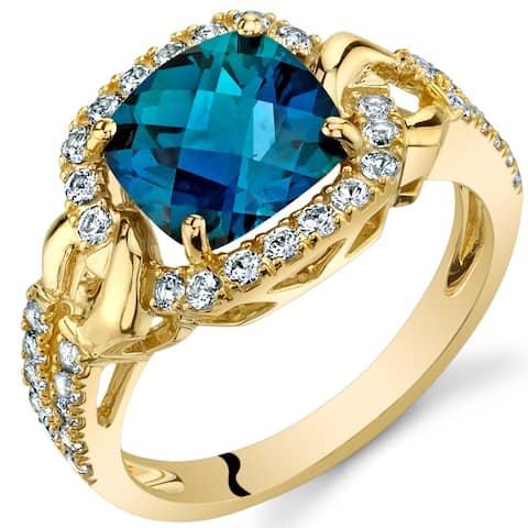 Oravo 14k Yellow Gold Created Alexandrite Cushion Halo Ring 2.50 carat