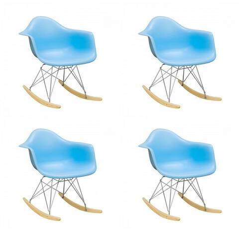 Porch & Den Old Weir Mid-Century Bucket Eiffel Style Rocking Dining Chair (Set of 4)