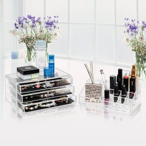 Two Pieces Set Acrylic Jewelry Makeup Case Cosmetic Storage Display Organizer - Clear