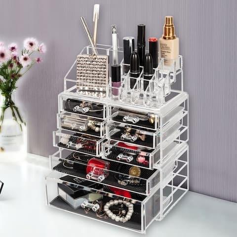 Makeup Organizer 3 Pieces Acrylic Cosmetic Storage Drawers and Jewelry Display Box