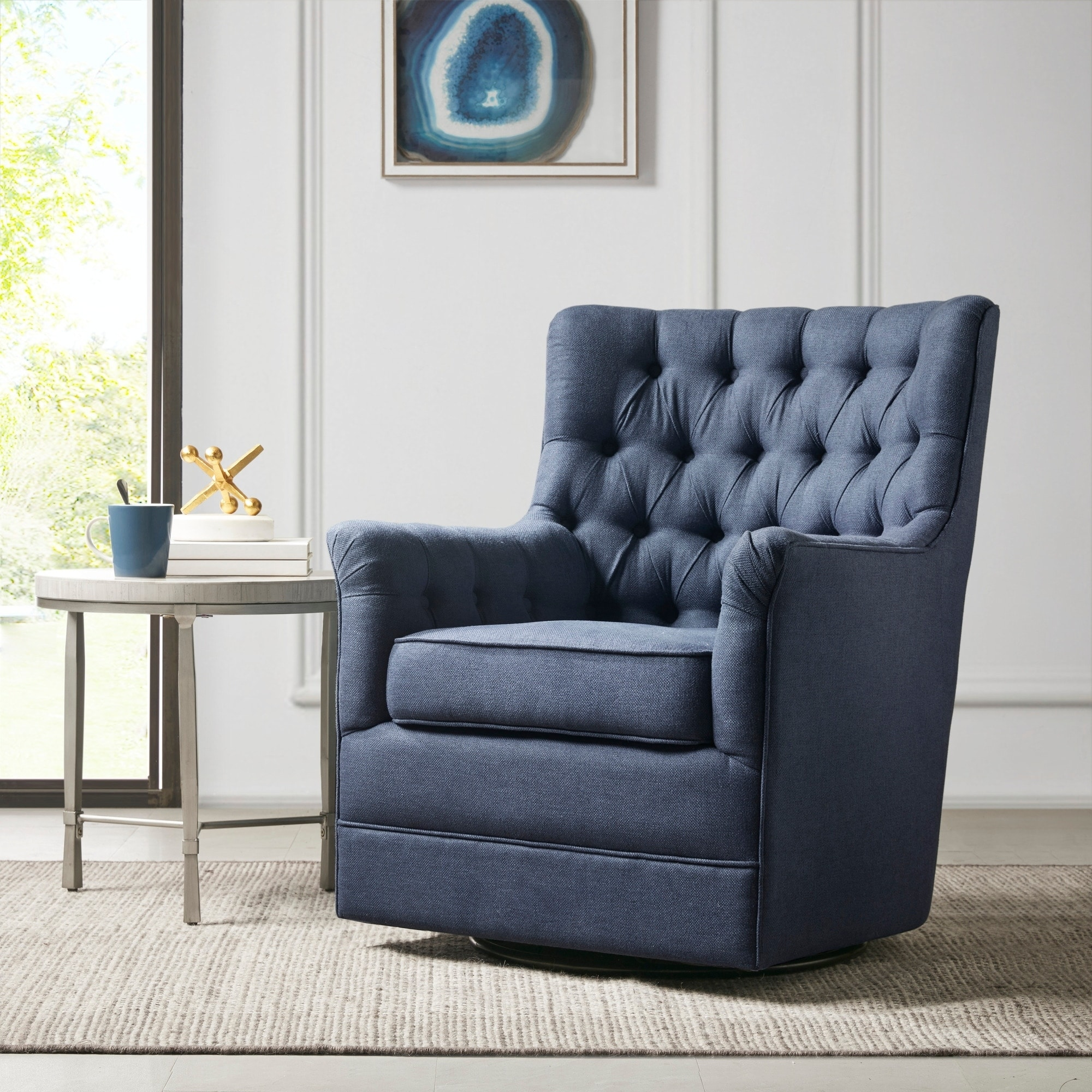 Shop Black Friday Deals On Madison Park Rae Blue Swivel Glider Chair Overstock 30677662