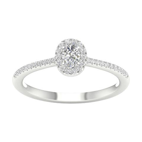1/3ct TDW Diamond Halo Ring in 10k Gold by De Couer