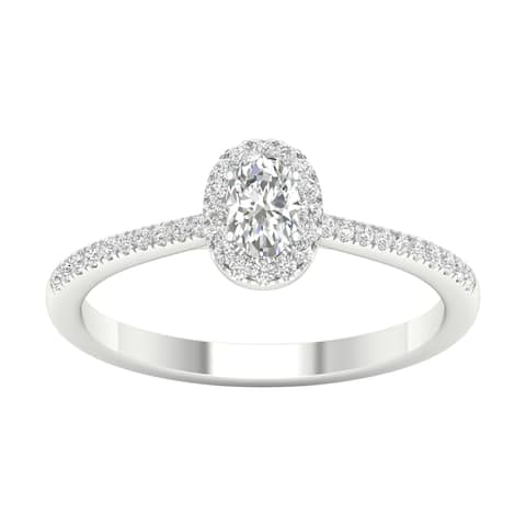 3/8ct TDW Diamond Halo Ring in 10k Gold by De Couer