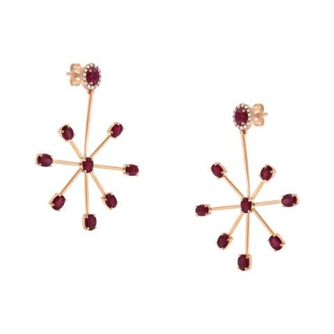 18K Rose Gold Diamond and Created Ruby Wheel Dangle Earrings (H-I, I3)
