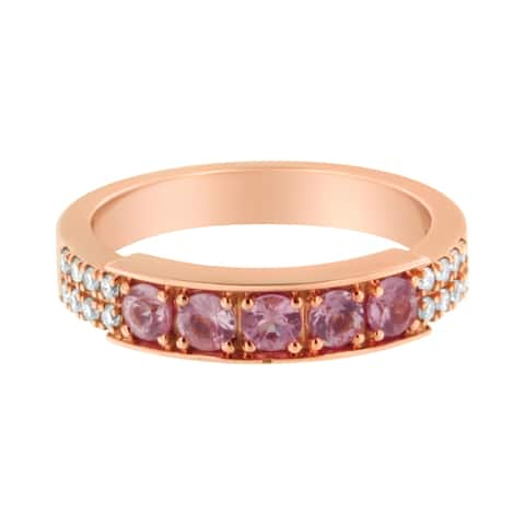 18K Rose Gold Diamond and Created Pink Sapphire Band Ring (H-I, I3)