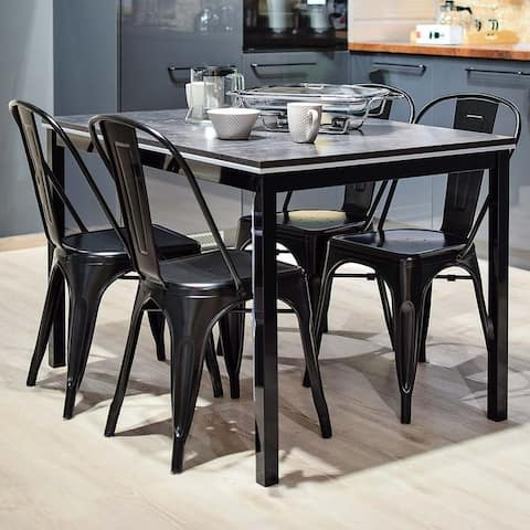 4 Chairs and 1 Table Dining Sets Industrial Vintage Home Funiture Iron Sheet Chair and Glass Top Table
