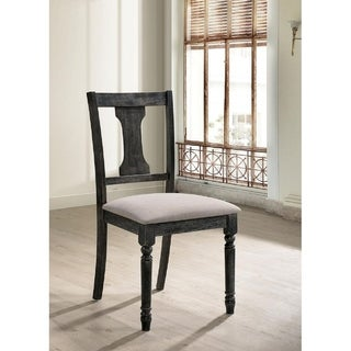 Solid Wood Side Chair with Fabric Upholstered Seat, Weathered Gray, Pack of Two