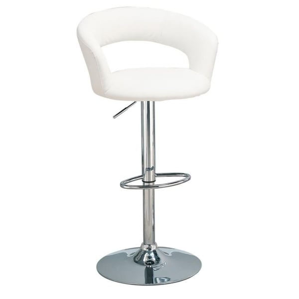 Upholstered Bar Stool with Adjustable Height White and Chrome
