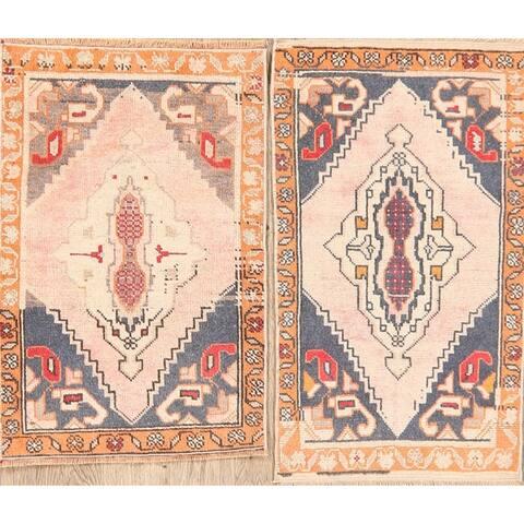 "Set of 2 Anatolian Turkish Area Rugs Handmade Geometric Carpet - 1'10"" x 3'1"""