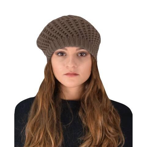 Winter Warm Double Layer Crochet Knit Beret Beanie Slouchy Hat