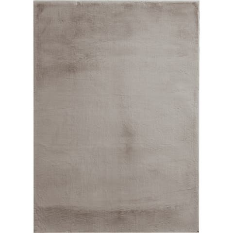 """Brexley Taupe Faux Rabbit Fur Area Rug - 7'6"""" x 9'6"""""""