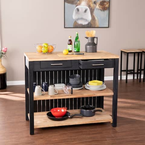 Copper Grove Berhill Transitional Black Wood Expandable Kitchen Island