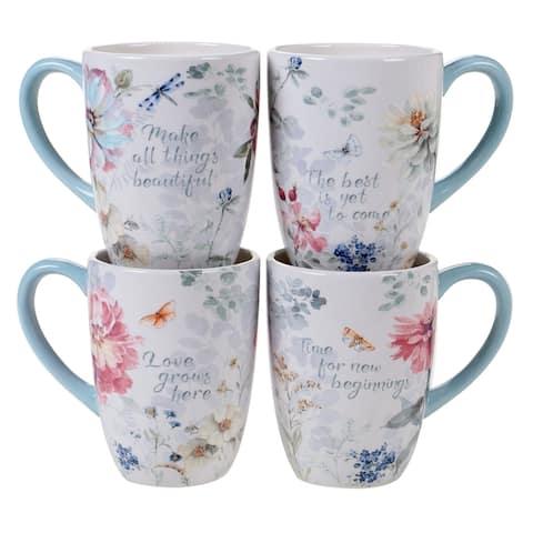 Certified International Spring Bouquet 22 oz. Mugs (Set of 4)