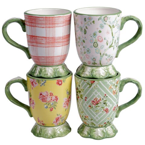 Certified International English Garden 16 oz. Pedestal Mugs (Set of 4)