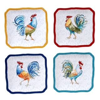 Certified International Morning Bloom Canapé/Snack Plates (Set of 4)