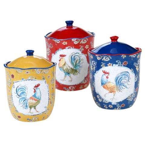 Certified International Morning Bloom 3-piece Canister Set