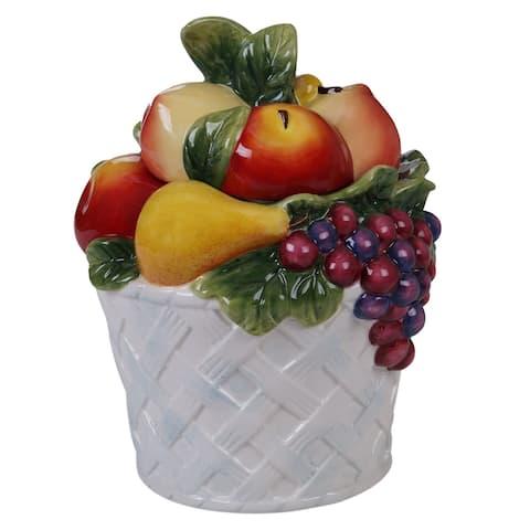 Certified International Ambrosia 3D Fruit Basket Cookie Jar, 88 oz.