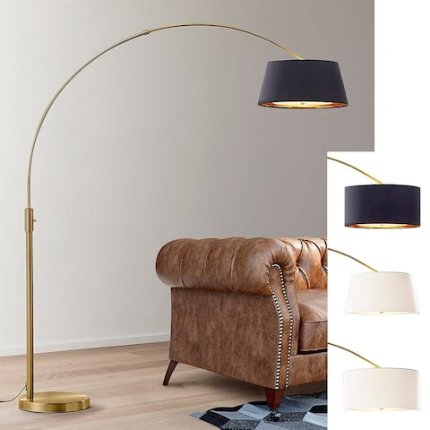"""Orbita 81""""H LED Dimmable Retractable Arch Floor Lamp, Bulb included, Antique Brass Finish"""