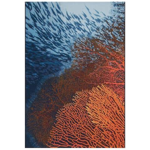 """Liora Manne Marina Coral Indoor/Outdoor Rug Ocean 1'11"""" x 7'6"""""""