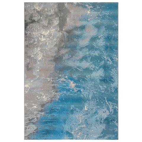 """Liora Manne Marina Surf Indoor/Outdoor Rug Ocean 1'11"""" x 7'6"""""""