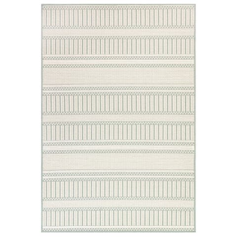 "Liora Manne Plymouth Modern Stripe Indoor/Outdoor Rug Aqua 4'10""X7'6"""