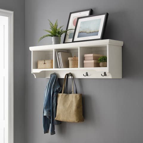 "Seaside Storage Shelf in Distressed White - 47.25""W x 11""D x 15.5""H"