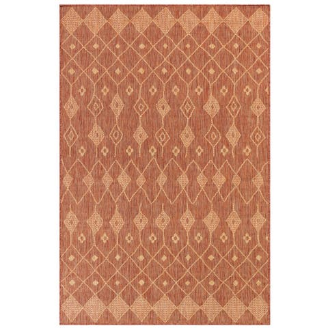 "Liora Manne Carmel Marrakech Indoor/Outdoor Rug Red 6'6""X9'4"""