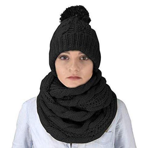 Cable Knit 2 Pair Faux Beanie Hat and Infinity Loop Scarf Set