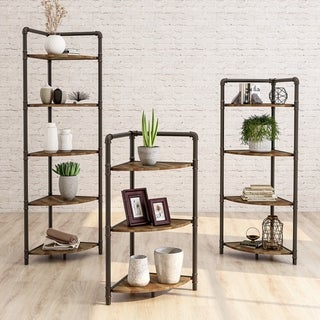 Furniture of America Nixie Industrial Sand Black Corner Bookcase