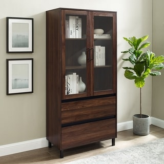 "Strick & Bolton 68"" Glass Door Storage Cabinet"